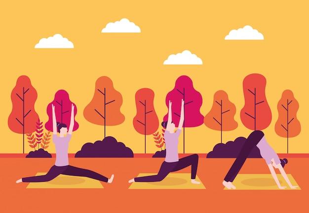 Mensen yoga-activiteit Gratis Vector
