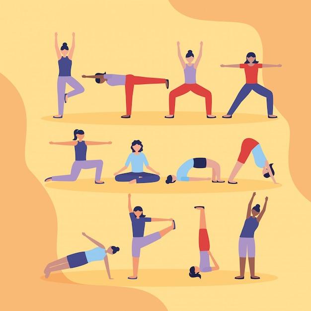 Mensen yoga buiten in vlakke stijl Gratis Vector