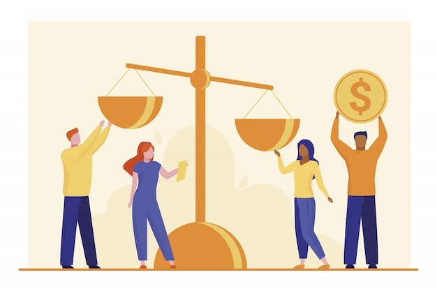 Mensen zetten geld op schaal Gratis Vector