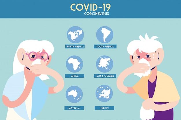 Mensen ziek van coronavirus op de planeet aarde, infographic Premium Vector