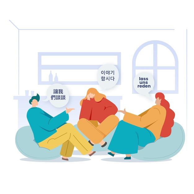 Mensen zitten binnenshuis en praten in verschillende talen Gratis Vector