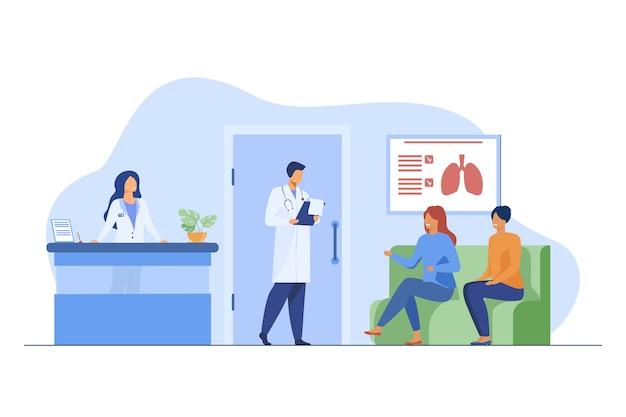 Mensen zitten in de ziekenhuisgang en wachten op arts. patiënt, kliniek, bezoek platte vectorillustratie. geneeskunde en gezondheidszorg Gratis Vector