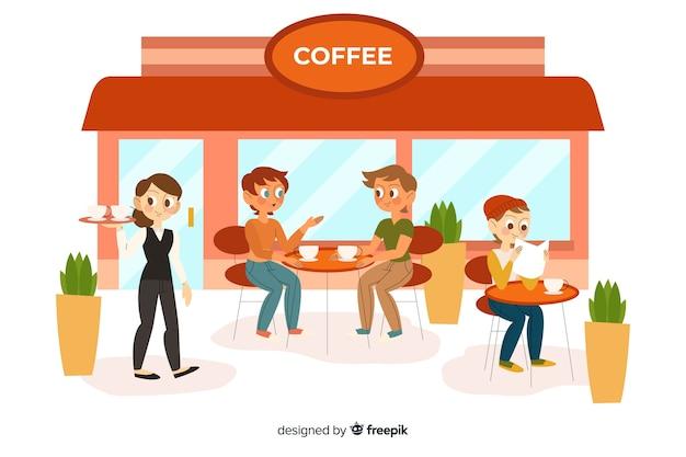 Mensen zitten in het café Gratis Vector