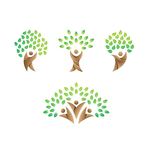 Mensen zorg logo sjabloon, groen zorg logo, boom zorg logo Premium Vector