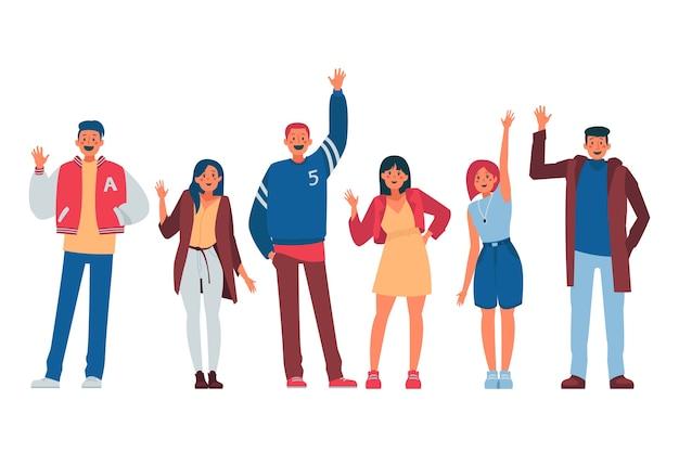 Mensen zwaaien hand illustratie concept Gratis Vector