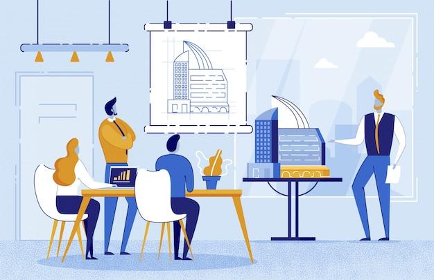 Mensenarchitect die tekening tonen aan boord Premium Vector