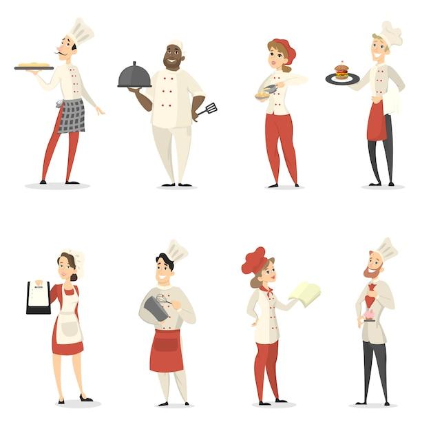 Mensenchef-koks stellen koken en werken in het restaurant. Premium Vector