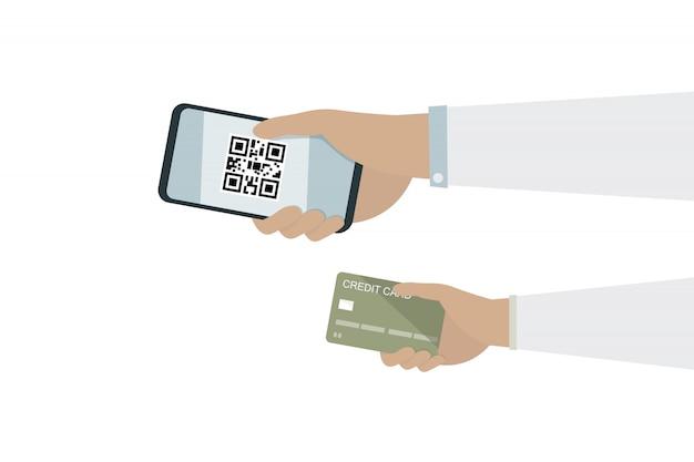 Mensenhand op mobiele telefoon met qrcode en hand op creditcard voor loongeld Premium Vector