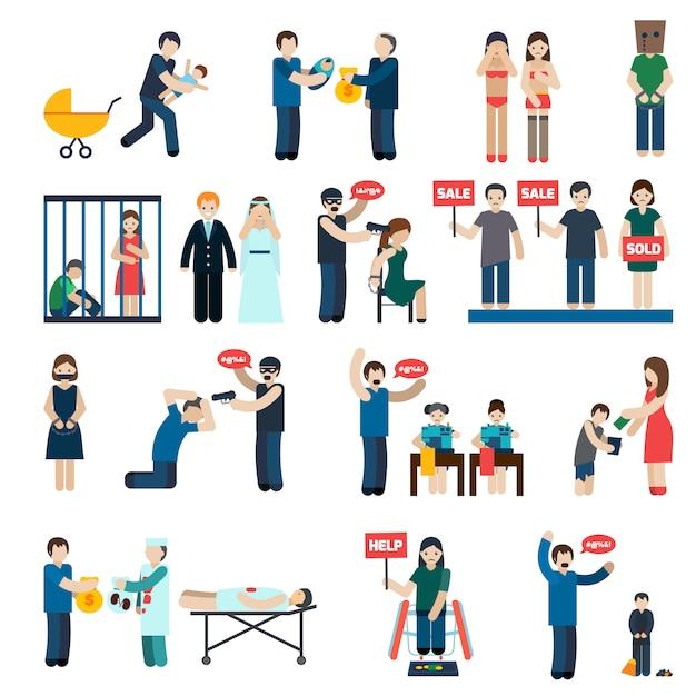 Mensenhandel flat icons set Gratis Vector