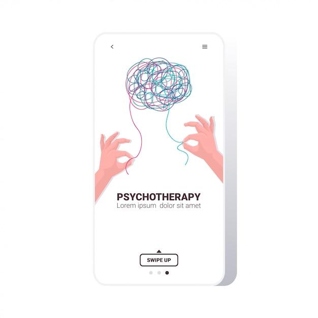 Mensenhanden oplossen probleem in verwarde hersenen psychotherapie sessie behandeling van stressverslavingen Premium Vector