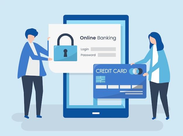 Mensenkarakters en het concept van de online bankwezenveiligheid Gratis Vector
