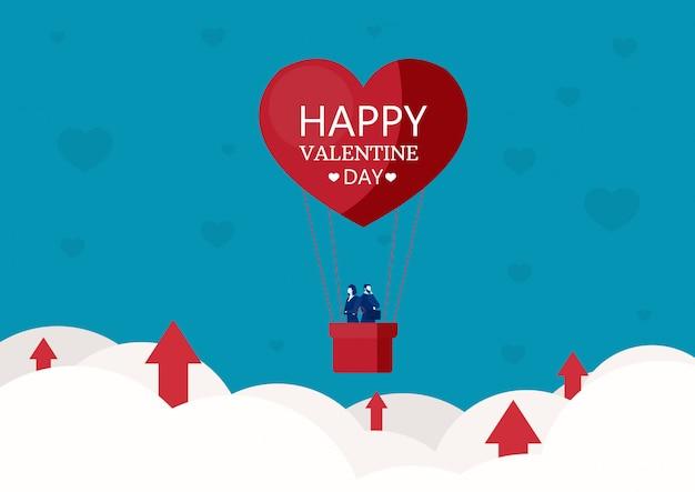 Mensenzaken op hart gevormde de valentijnskaartdag van de hete luchtballon met de grafiekgroei op wolkenvector Premium Vector