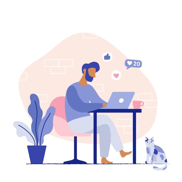 Mensenzitting op de stoel die aan laptop werken. thuiswerkplek voor freelancer. platte vectorillustratie Premium Vector