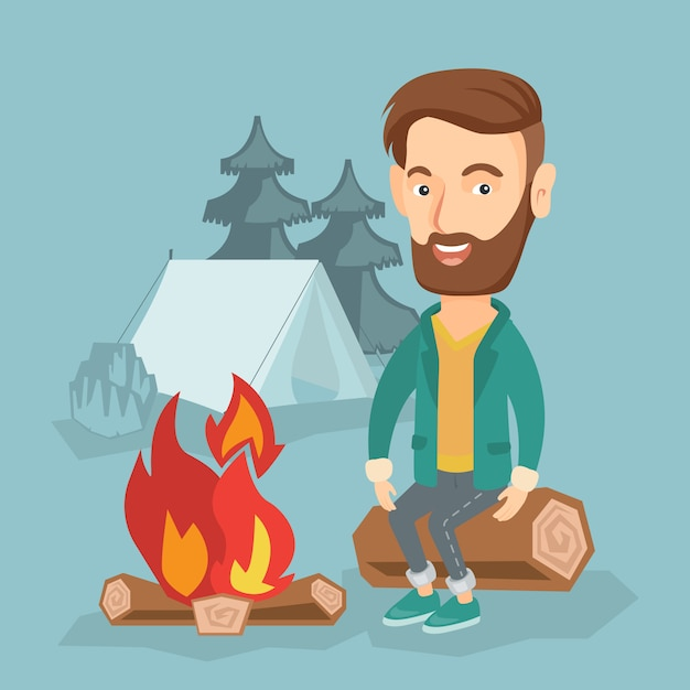 Mensenzitting op logboek dichtbij kampvuur in het kamperen. Premium Vector