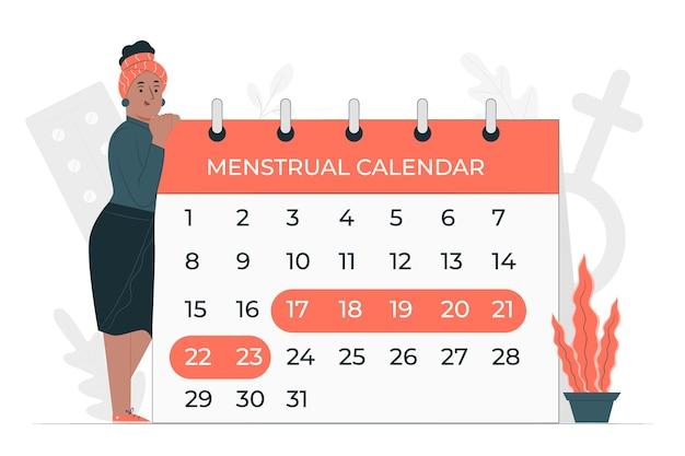 Menstruele kalender concept illustratie Gratis Vector