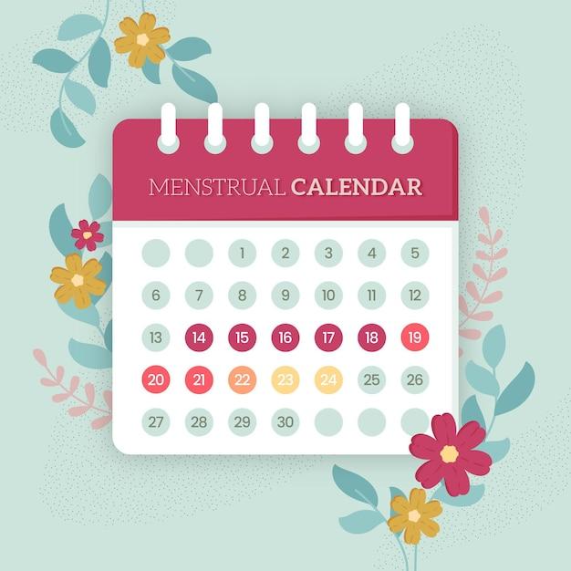 Menstruele kalenderconcept met bloemen Gratis Vector