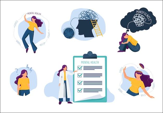 Mentale problemen. menselijke geest behandeling emotionele spatten ziekte medische zorg Premium Vector