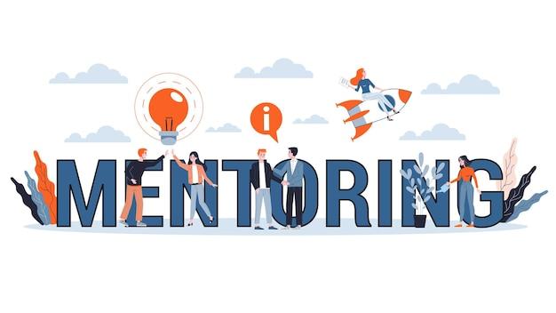 Mentoring concept. advies geven voor carrièresucces. begeleiding in het bedrijfsleven. ondersteuning en motivatie. illustratie Premium Vector
