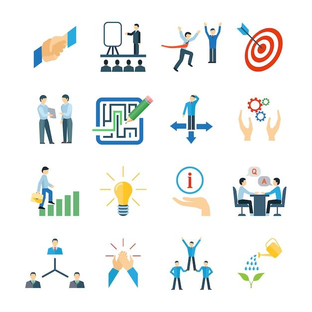Mentoring en persoonlijke vaardigheden ontwikkeling pictogrammen flat set Gratis Vector