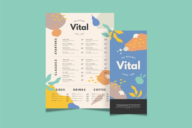 Menu concept in plat design Gratis Vector