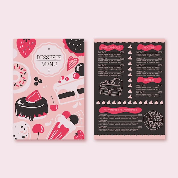 Menu concept sjabloon Gratis Vector