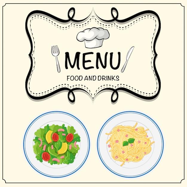 Menu met salade en pasta instellen Gratis Vector