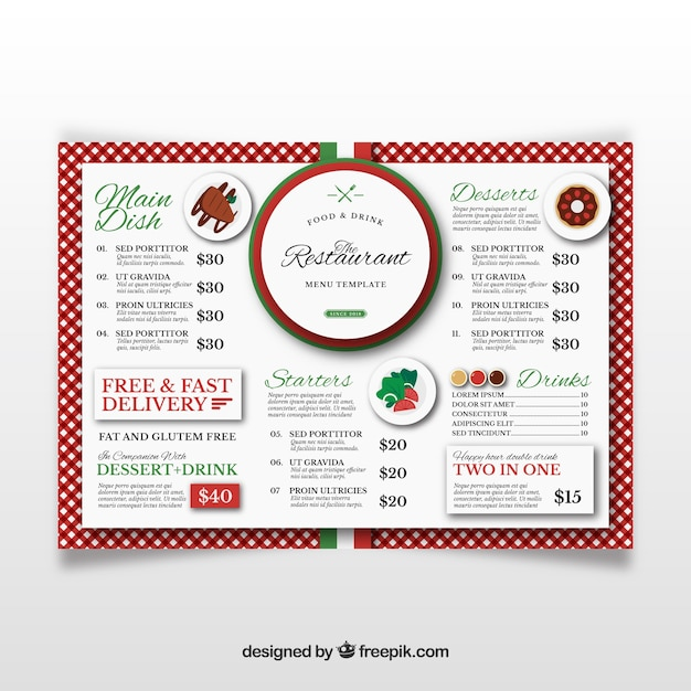 Menu restaurant in vlakke stijl Gratis Vector