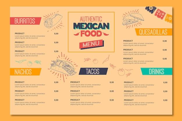 Menu voor mexicaans eten restaurant Premium Vector