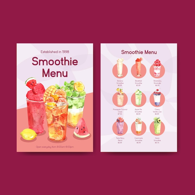 Menusjabloon met fruit smoothies concept Gratis Vector