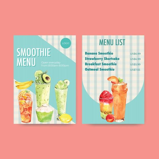 Menusjabloon met fruit smoothies Gratis Vector