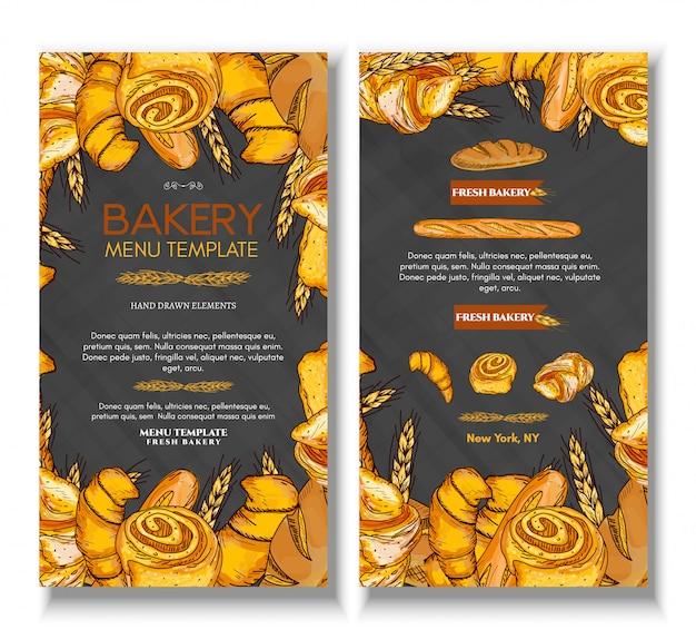 Menusjabloon met vers brood bakkerijproducten Premium Vector