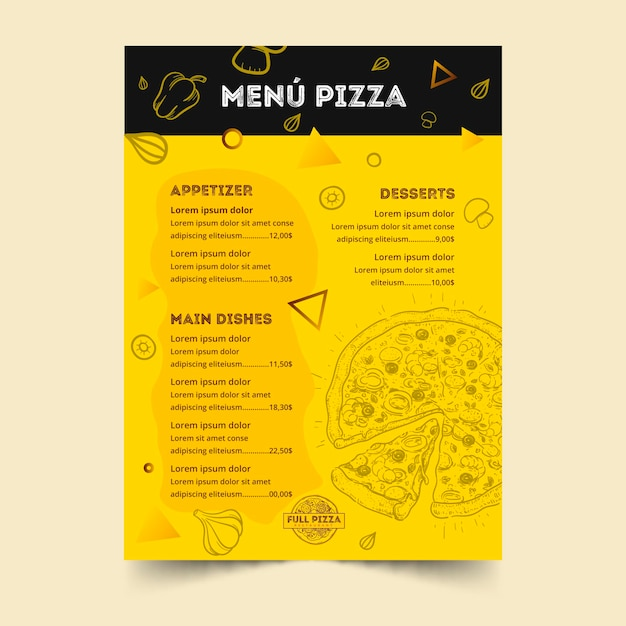 Menusjabloon voor pizzarestaurant Gratis Vector