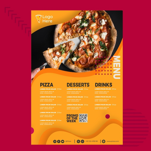 Menusjabloon voor pizzarestaurant Premium Vector