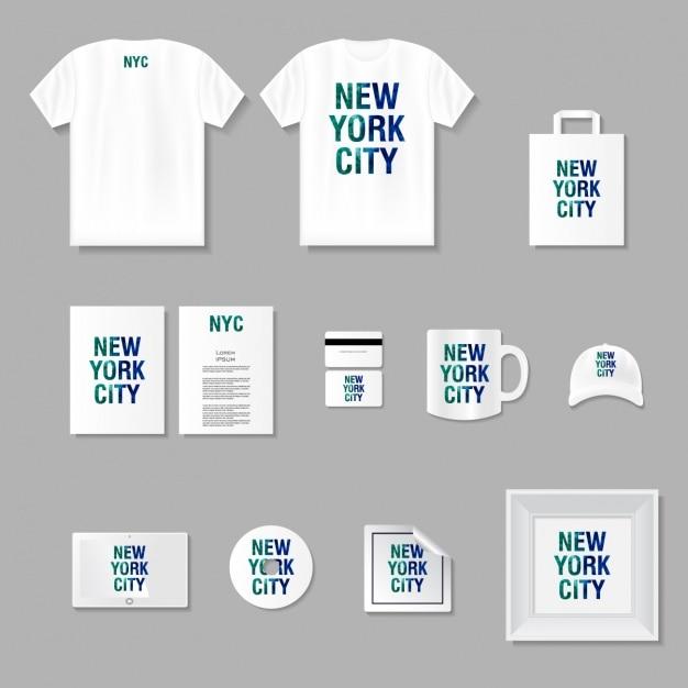Merchandising en briefpapier mock up Gratis Vector
