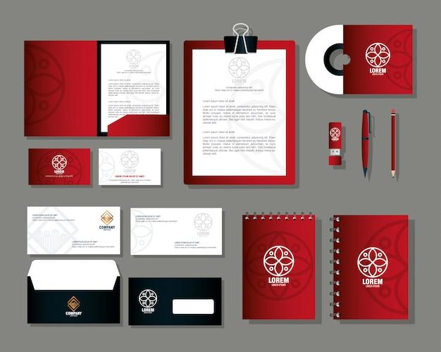 Merk mockup huisstijl, mockup kantoorbenodigdheden, rode kleur met bord wit Premium Vector