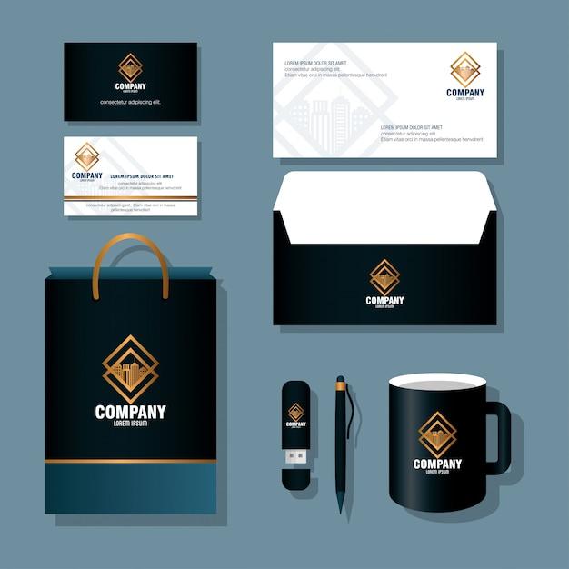 Merk mockup huisstijl, mockup van briefpapier levert zwarte kleur met gouden teken vector illustratie ontwerp Premium Vector