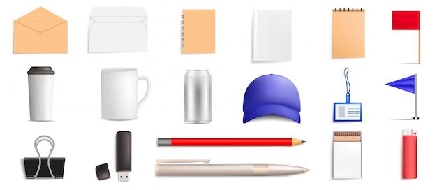 Merk mockup pictogramserie. realistische set van merk mockup vector iconen voor webdesign geïsoleerd op een witte achtergrond Premium Vector
