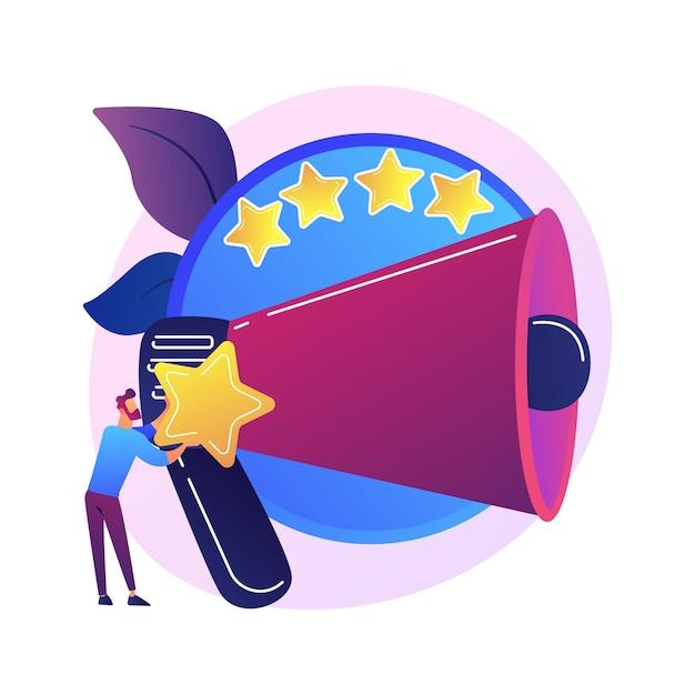 Merkbeoordeling meten. productrangschikking, smm-tool, analyse van gebruikersfeedback. digitale marketingexpert die de tevredenheid van klanten analyseert Gratis Vector