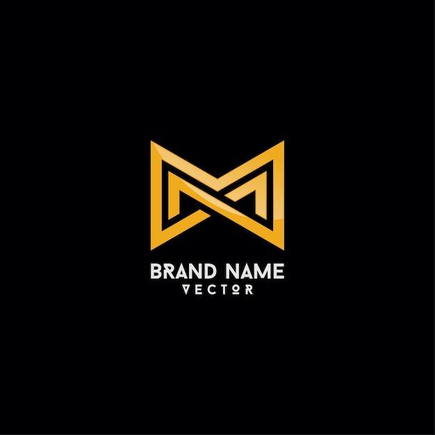 Merklogo ontwerp gouden monogram m-brief Premium Vector