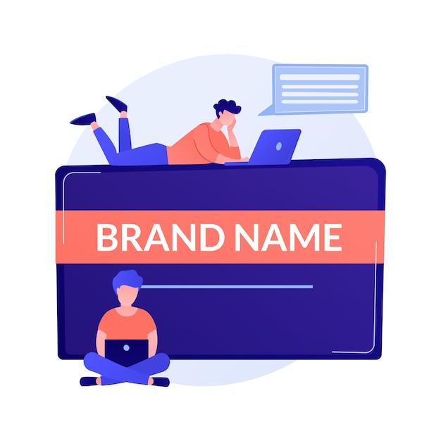 Merknaam innovatie. marketeers team, corporate branding, ontwerpers teamwork. bedrijfsidentiteit creëren en ontwikkeling ontwerpelement concept illustratie Gratis Vector