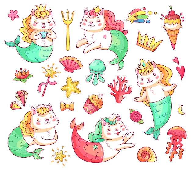 Mermaid kitty cat stripfiguren. onderwater katten zeemeerminnen vector set Premium Vector