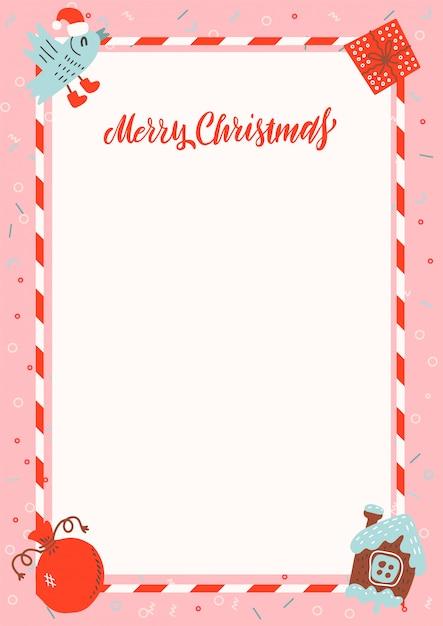 Merry christmas a4-formaat frame met peperkoek huis en xmas geschenken op roze achtergrond met vrije ruimte voor tekst Premium Vector