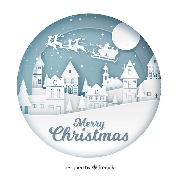 Merry christmas achtergrond in papier kunststijl Gratis Vector