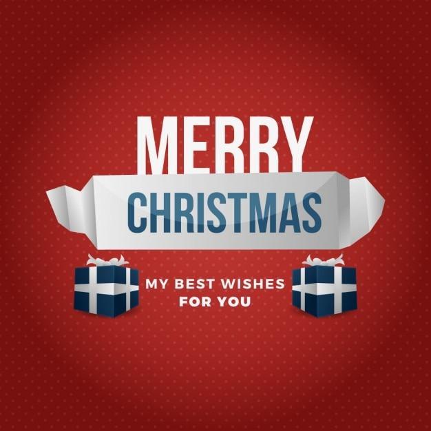 Merry christmas achtergrond met geometrische lint Gratis Vector