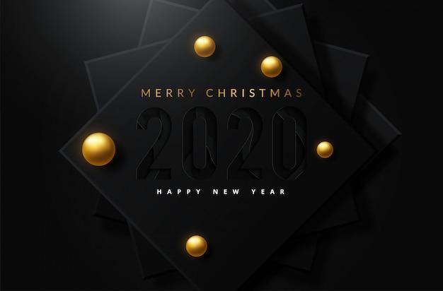 Merry christmas achtergrond met glanzende gouden en witte ornamenten Premium Vector