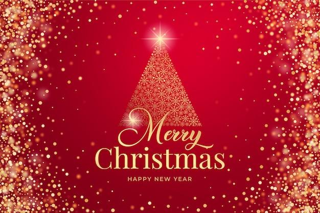 Merry christmas achtergrond met gouden glitter en schittert Premium Vector