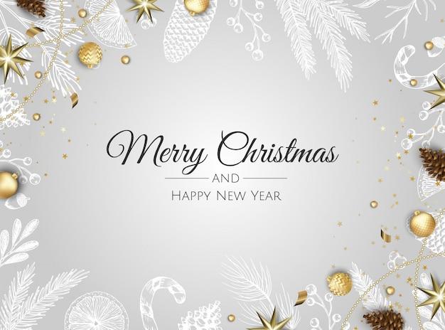 Merry christmas-achtergrond met kerstmisornamenten Premium Vector