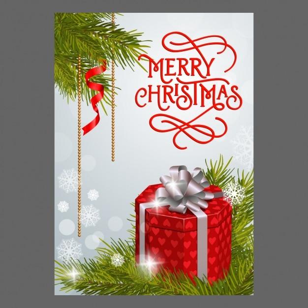 Merry En: Merry Christmas Achtergrond Met Rode Gift En Dennentakken