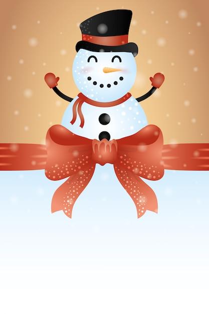 Merry christmas achtergrond met schattige sneeuwpop karakter Gratis Vector