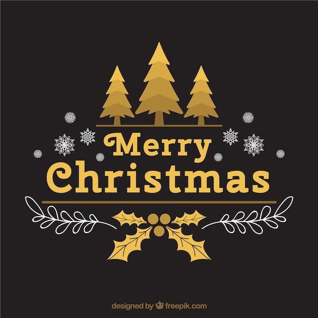 Merry En: Merry Christmas Achtergrond Met Sneeuwvlokken En Gouden